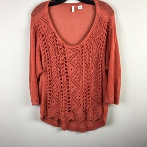 Moth women's pullover top sz M orange long sleeve